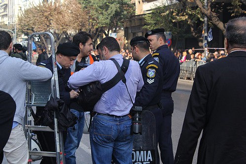 Greek police check IDs and take down names of journalists covering high school parade - Thessaloniki, Greece by Teacher Dude's BBQ