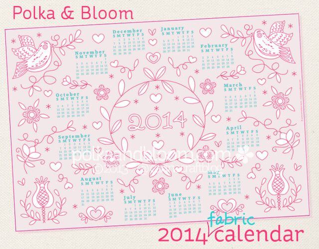 2014 Polka & Bloom fabric calendar panel