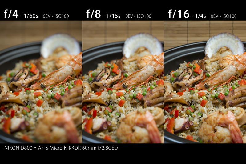 aperture test f/4 f/8 f/16 (Micro Nikkor 60mm)