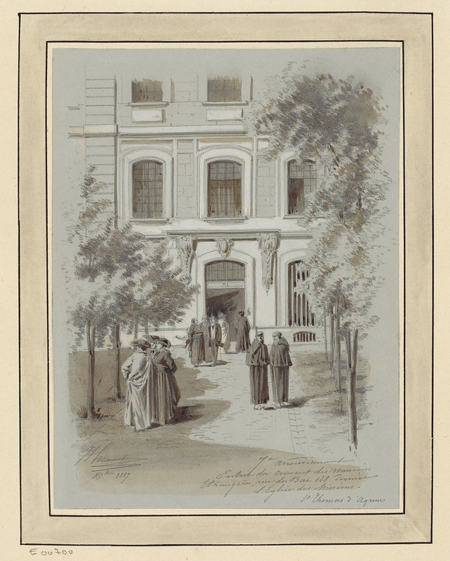 Paris sketch (1800s) of congregation of people outside of foreign affairs mission