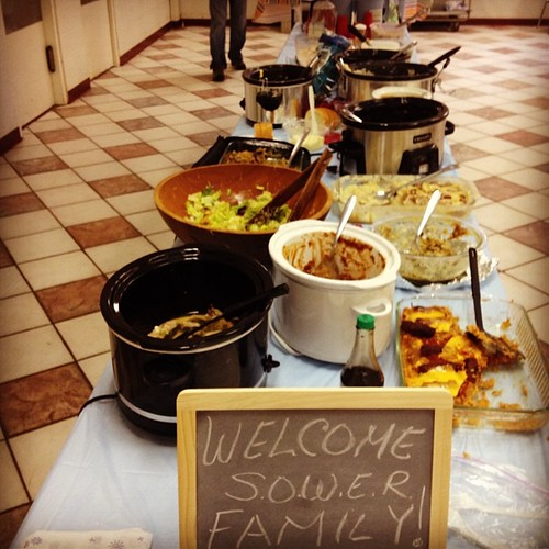 Sower potluck lunch - all kinds of crockpot goodness! And lots of wonderful folks to boot!