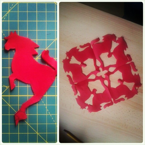 Happy Chinese New Year: 2014 Year of the Horse! (I've been sick, so playing with paper is a good pastime.) #papercrafts #2014 #yearofthehorse #newyear #red #horse #snowflakes