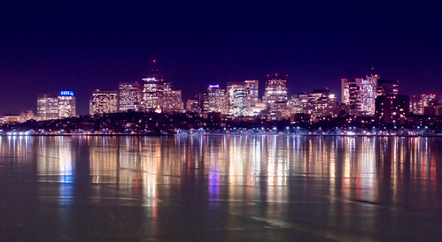 city urban reflection ice boston skyline night river downtown purple charles statehouse
