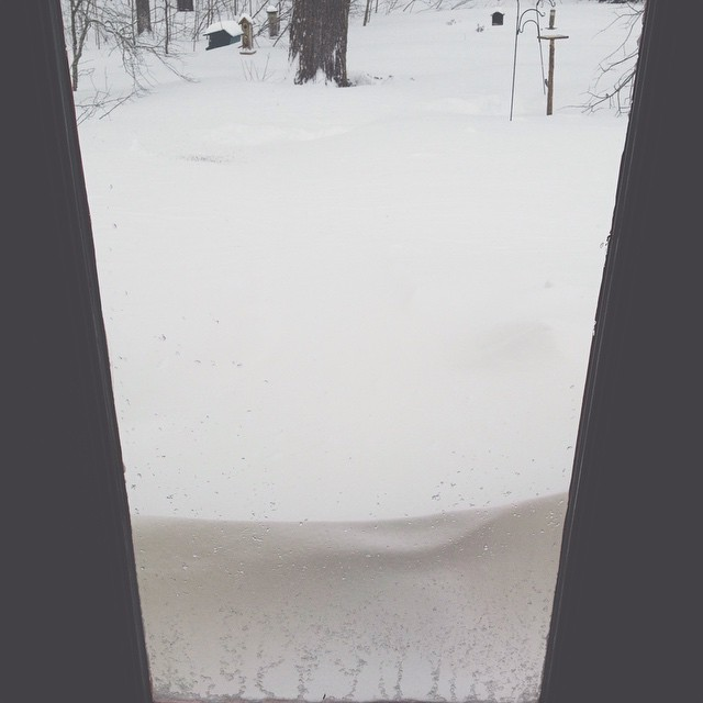This stoop was shoveled clear by @superadamgalaxy yesterday. Now it's covered by a 2-foot drift.