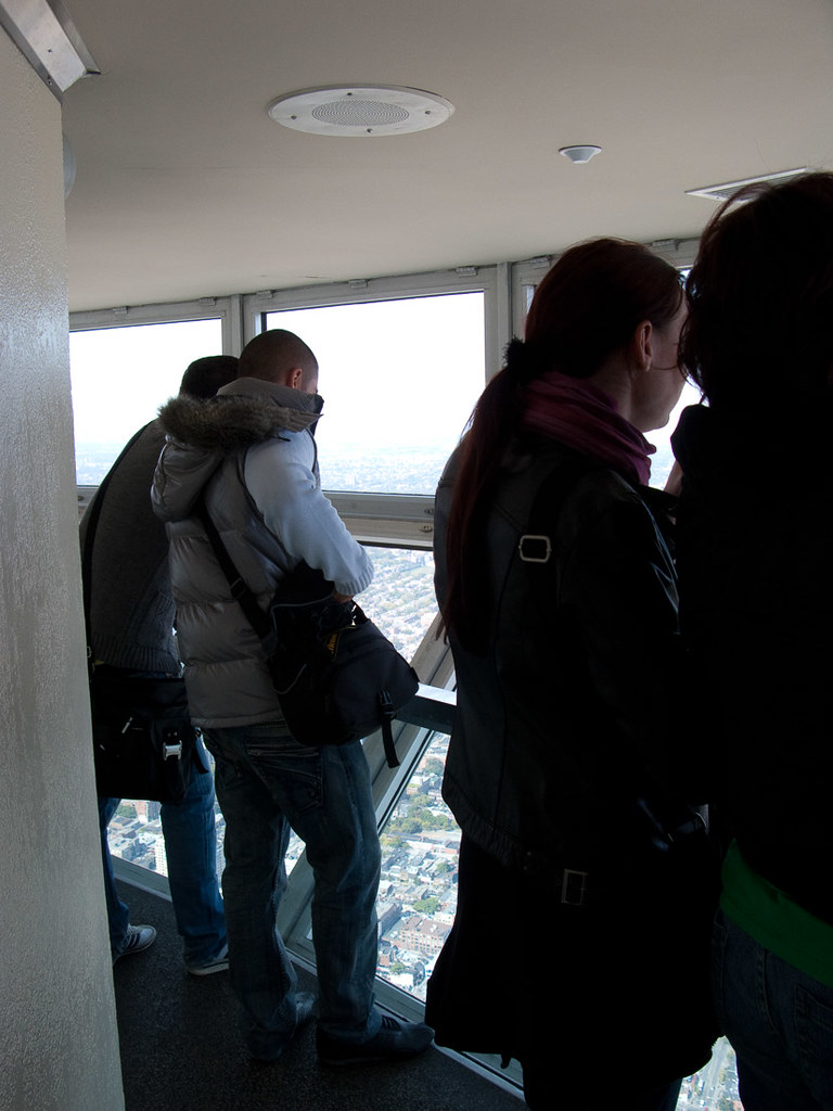 People taking photographs in the skypod