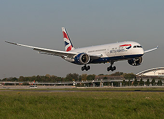British Airways B787-9 landing (British Airways)
