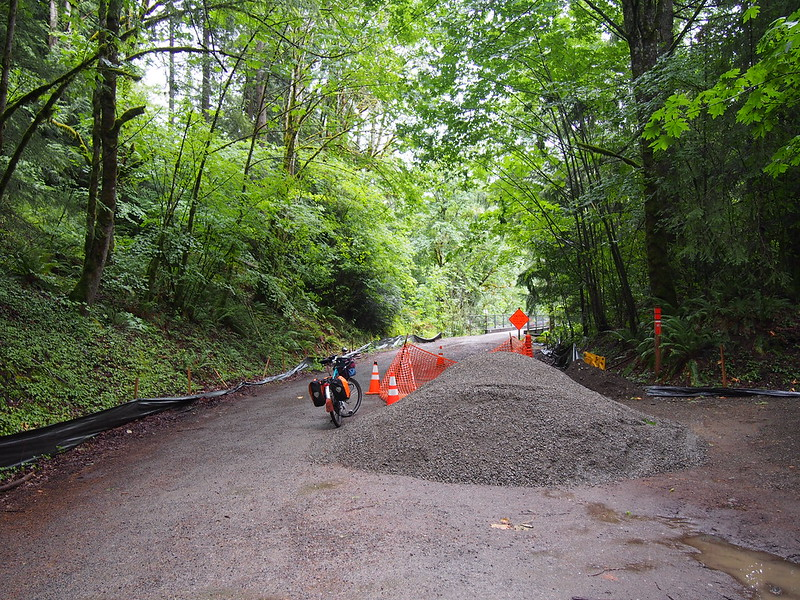 Snoqualmie Valley Trail: Approaching Tokul Creek Trestle: After repairing the trestle, crews are working on widening and resurfacing the gravel trail.  It was pretty soft, but not too difficult.