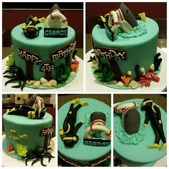Shark-Themed Birthday Cake by Pearl Vergara of Hot Oven Cakes & Cupcakes