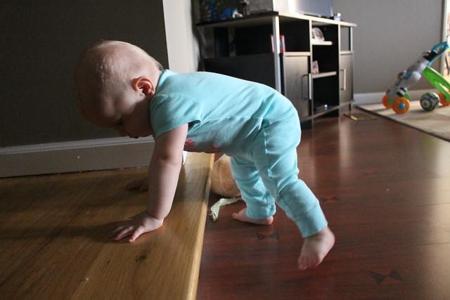 Peyton climbing stair