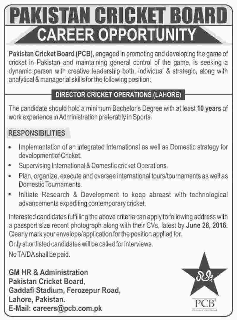 Pakistan Cricket Board Director Cricket Operations Required
