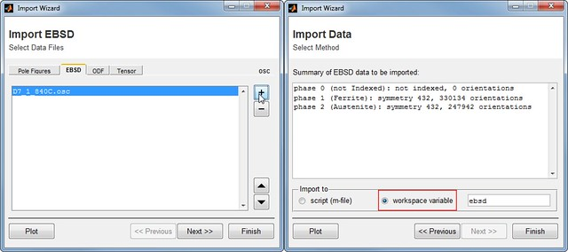 Screen-shots of MTEX Import Wizard