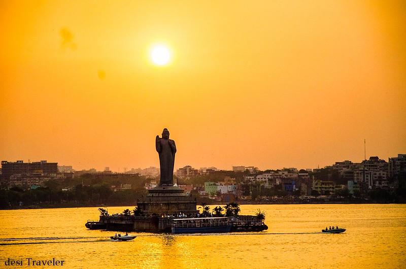 Sunset At 18 Meter Tall Buddha Statue in Hussain Sagar Tank Bund