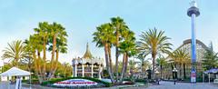 california's great america entrance plaza panorama