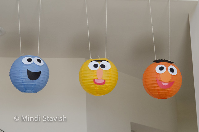 sesame street party hanging paper lantern characters close up