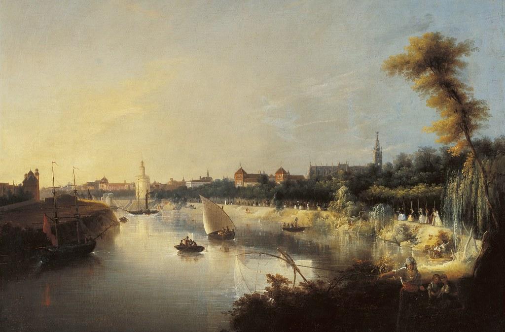 El río Guadalquivir y la ciudad de Sevilla. Manuel Barrón y Carrillo. Óleo sobre lienzo, 1854