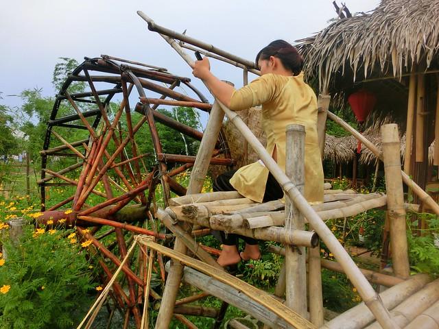 Waterwheel restaurant at Tra Que Herb Village near Hoi An, Vietnam.