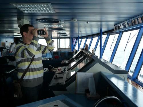 En el puente de mando del buque Empress (Pullmantur)