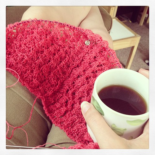 Tea and lace-knitting with gradient yarn. Perfect afternoon.