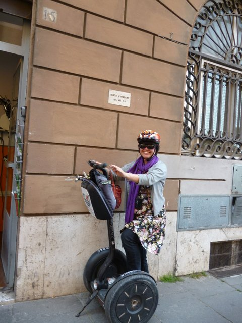 Posing in front of Italy Segway Tour's Rome office