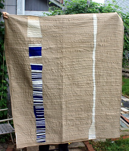 Beige Blue Waves Scrap Quilt