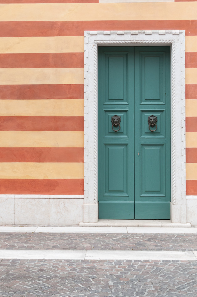 italian architecture with painted stripe wall