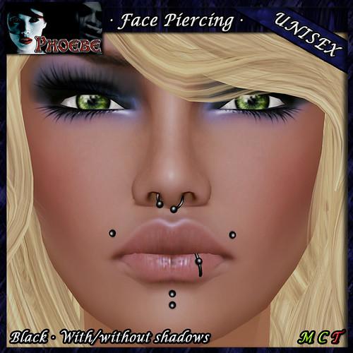 *P* Unisex Face Piercing ~ Serie P4 ~ Black