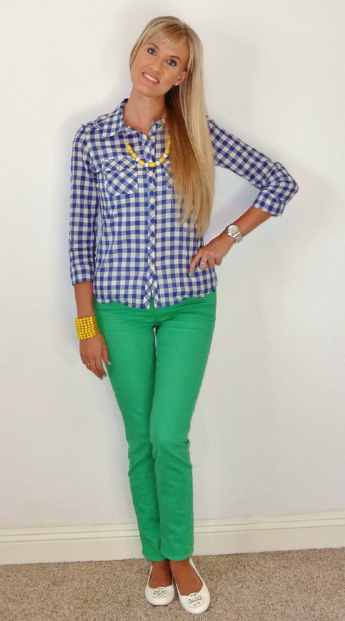 OOTD: blue green + yellow