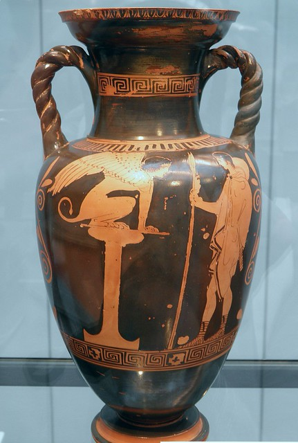 The Sphinx seated on a plinth and presenting her riddle to Odipus, Attic black-figure amphora, ca. 430 BC, Staatliche Antikensammlungen, Munich