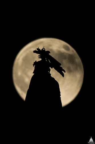 Supermoon and Statue of Freedom
