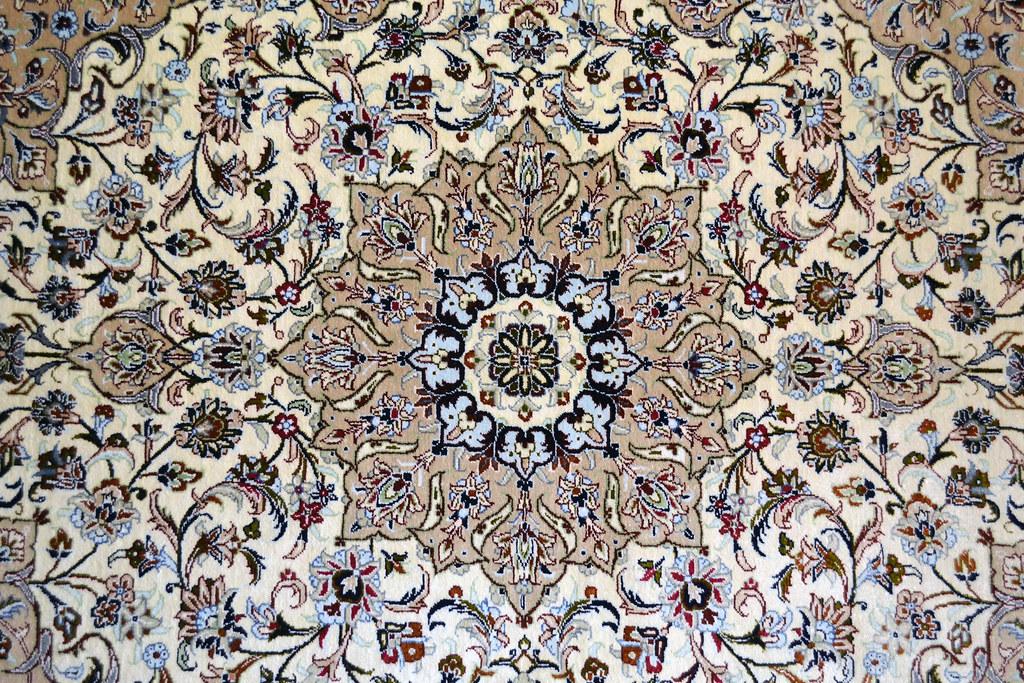Kashan Pure Silk Fallahi Persian Area Rug