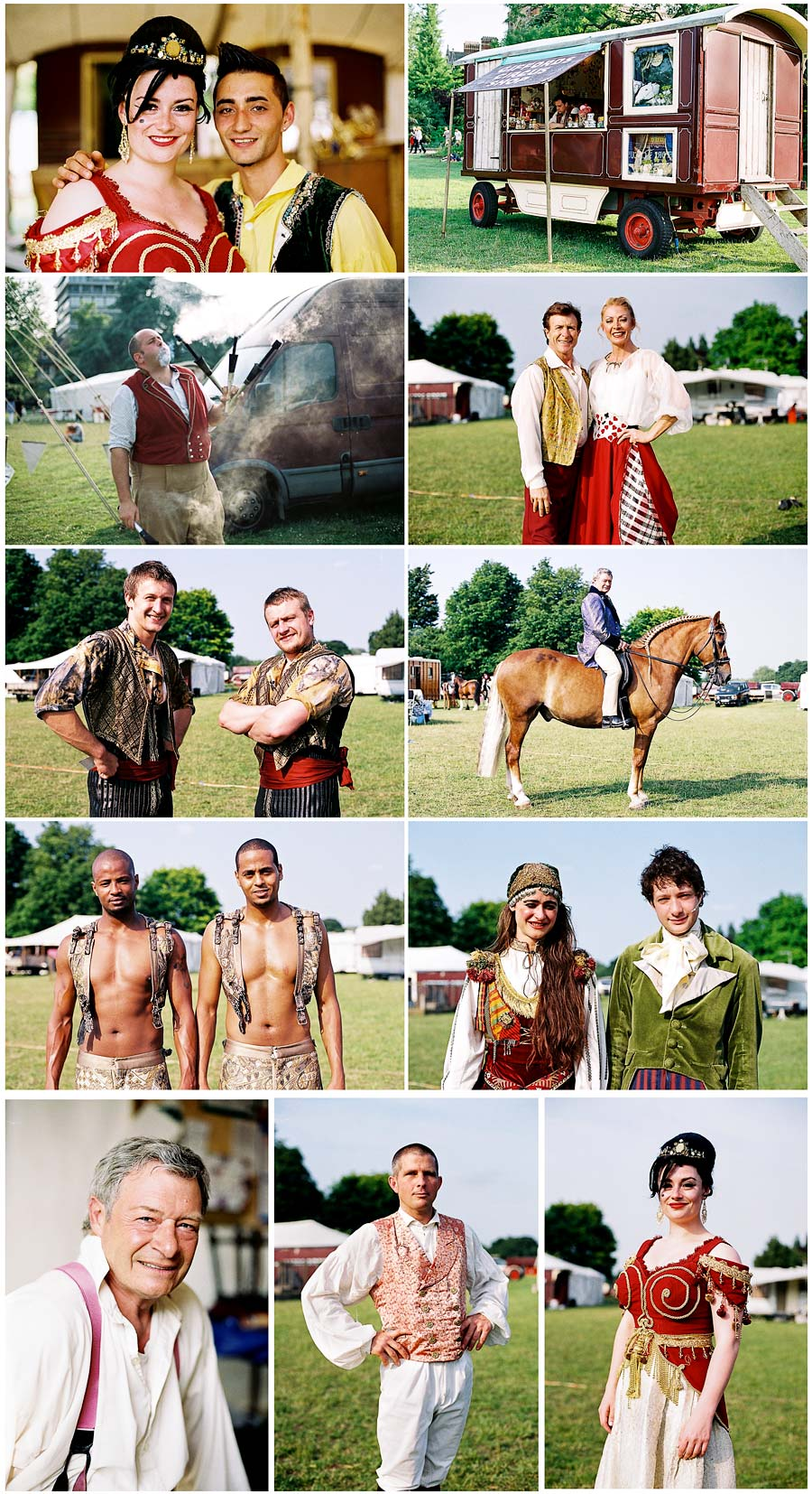 Giffords Circus performers backstage, University Parks, Oxford.