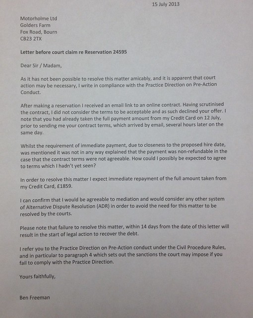 letter before action template .