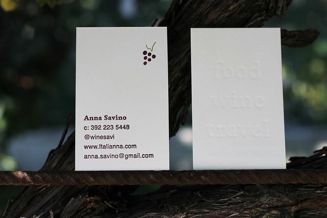 Food Wine Travel Letterpress Business Cards