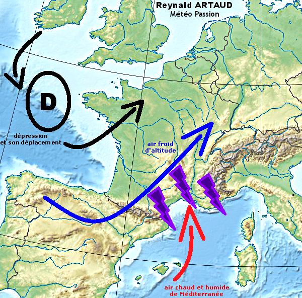 schéma d'une situation favorable aux fortes pluies automnales sur le pourtour méditerranéen Reynald ARTAUD météopassion