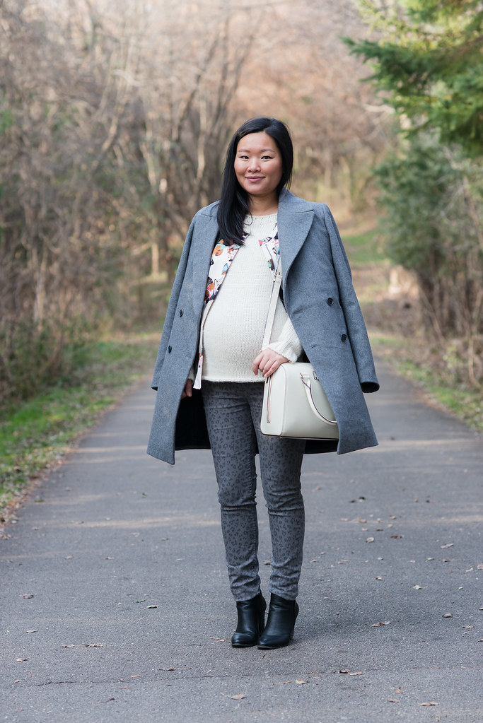 zara gray wool jacket, phillip lim x target tank, kate spade cream purse