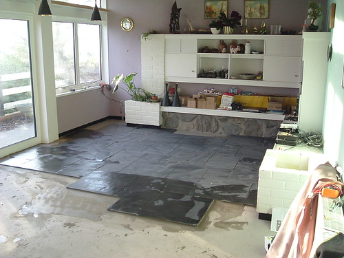 Living Room Slate Floor Installation Under Floor Heating