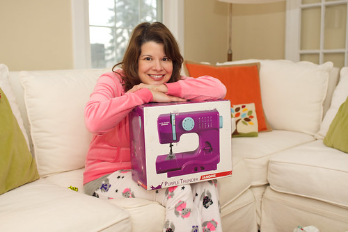 Me and my purple sewing machine.