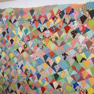 84 x 104 super huge #DSQuilts #denyseschmidt scrap quilt top completed. I'm not a completist so I don't own a complete line of anything - I used a lots of different lines. This is for my bed.