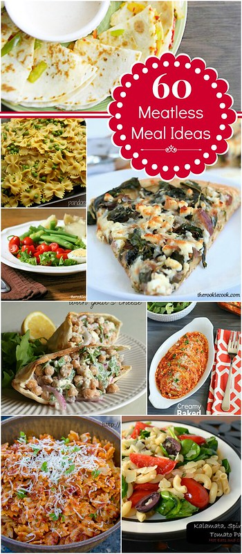 60 Meatless Meal Ideas #meatless #dinnerideas #roundup