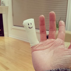 My new finger puppet. Ouchie.