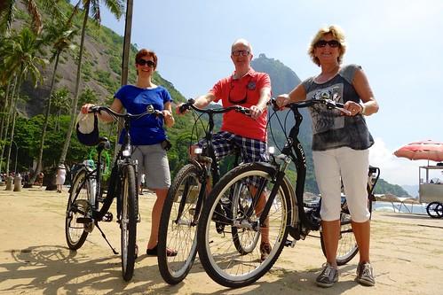 Our family on a bike tour of Rio de Janeiro
