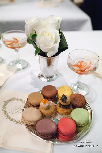 My silver tray of goodies - Black truffle & salmon roe religieuses and Ladurée's famous macarons