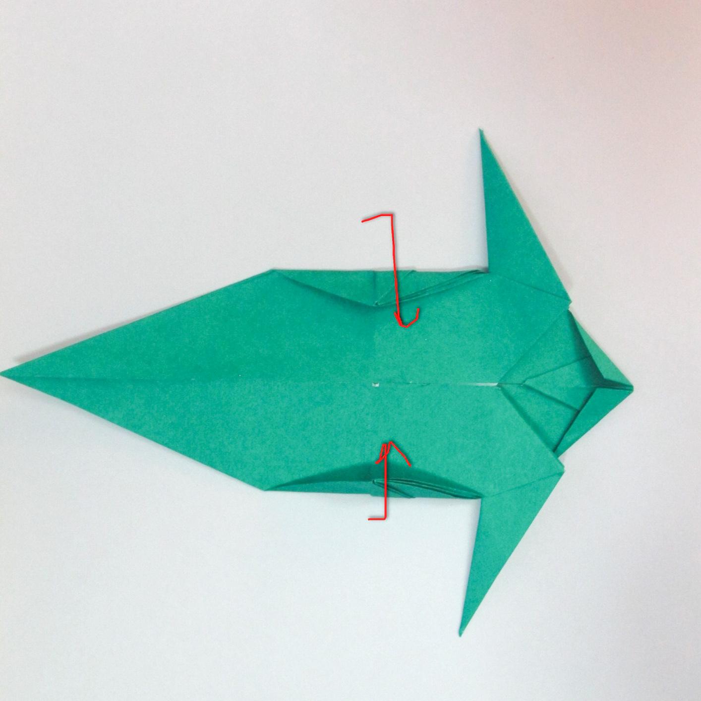 สอนวิธีการพับกระดาษเป็นรูปปลาฉลาม (Origami Shark) 029
