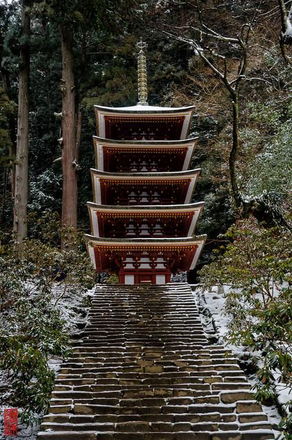 「雪積もる五重塔」 室生寺 - 奈良