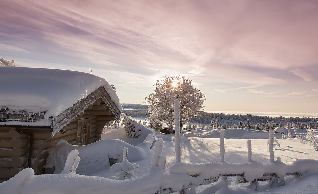 Log Cabin in Sjusjoen at Sunrise