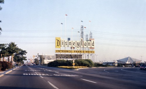 Disneyland sign, Harbor Blvd, Anaheim, 1974