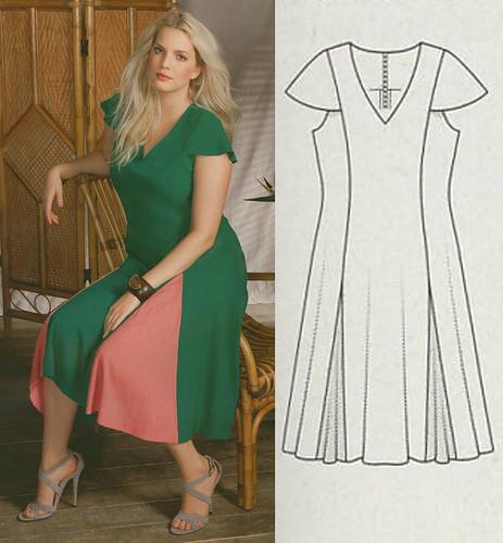 Burda-Plus-2014-SS Godet Dress