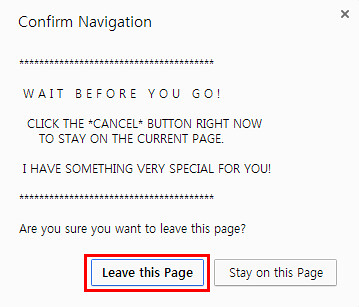 Leave this Page button click