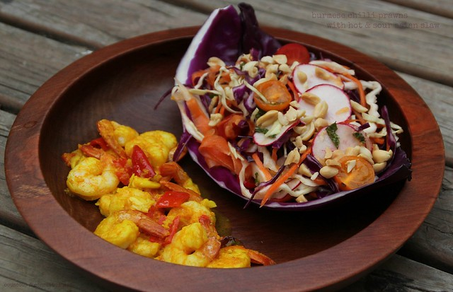 Burmese Chilli Prawns with Hot & Sour Asian Slaw 1