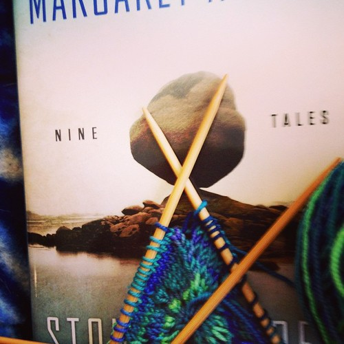 "Taking a break from the ""have to's"" with my favorite author and some colorful knitting. #margaretatwood #bluemoonfiberarts"
